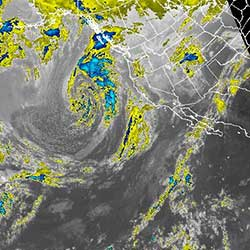 Northeast Pacific Colored Map Infrared Satellite Loop